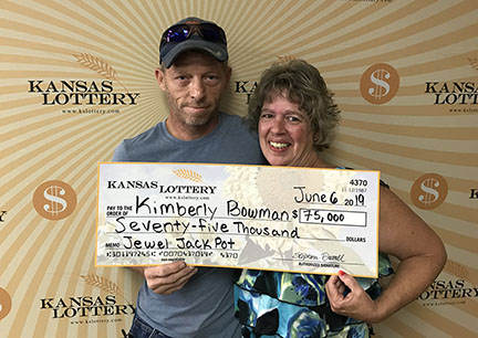 Kimberly Bowman won $75,000 on the $10 Jewel Jackpot instant scratch game