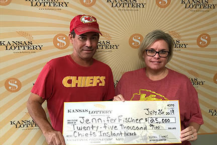 Jennifer Fischer won $25,000 on the Kansas City Chiefs instant ticket